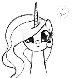 Size: 800x800 | Tagged: safe, artist:nimaru, princess celestia, pony, bust, cute, cutelestia, daaaaaaaaaaaw, monochrome, portrait, solo