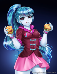 Size: 800x1042 | Tagged: safe, artist:racoonsan, color edit, edit, editor:drakeyc, sonata dusk, human, equestria girls, bracelet, breasts, clothes, colored, cute, female, food, humanized, jewelry, licking, licking lips, nail polish, ponytail, skin color edit, skirt, smiling, solo, sonatabetes, sonataco, spiked wristband, taco, that girl sure loves tacos, tongue out, wristband