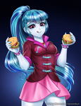 Size: 800x1042 | Tagged: safe, artist:racoonsan, color edit, edit, sonata dusk, human, equestria girls, bracelet, breasts, clothes, colored, female, food, jewelry, nail polish, ponytail, skin color edit, skirt, smiling, solo, sonataco, spiked wristband, taco, that girl sure loves tacos, tongue out, wristband