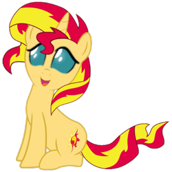 Size: 720x720 | Tagged: safe, edit, ocellus, sunset shimmer, changeling, pony, unicorn, changeling eyes, changeling eyes edit, cursed image, multicolored hair, simple background, sitting, smiling, solo, transparent background, wat, what has science done