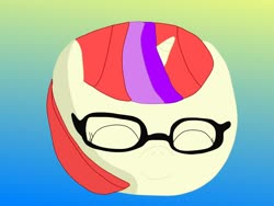 Size: 1280x960 | Tagged: safe, artist:slimgoomba, moondancer, pony, unicorn, ball, dancerball, eyes closed, female, glasses, gradient background, happy, inanimate tf, mare, morph ball, solo, transformation