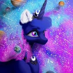 Size: 1000x1000   Tagged: safe, artist:livitoza, princess luna, alicorn, pony, bust, ear fluff, earth, ethereal mane, female, galaxy, galaxy mane, mare, planet, shooting star, solo, starry mane, stars
