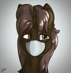 Size: 1040x1080 | Tagged: safe, artist:chebypattern, oc, oc only, oc:chebypattern, alicorn, alicorn oc, bust, coronavirus, covid-19, face mask, horn, n95, portrait, ppe, solo, wings