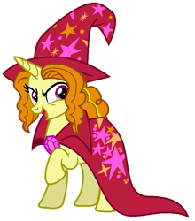 Size: 615x698 | Tagged: safe, artist:sarahalen, adagio dazzle, pony, unicorn, alternate universe, cape, clothes, equestria girls ponified, female, hat, mare, ponified, raised hoof, simple background, trixie's cape, trixie's hat, white background