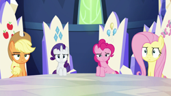 Size: 1920x1080 | Tagged: safe, screencap, applejack, fluttershy, pinkie pie, rarity, earth pony, pegasus, pony, unicorn, 28 pranks later, applejack is not amused, cutie map, fluttershy is not amused, friendship throne, frown, hooves on the table, looking at you, rarity is not amused, smiling, smiling at you, smug, twilight's castle, unamused