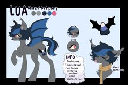 Size: 2538x1684   Tagged: safe, artist:rymdsten, oc, oc:lua, bat pony, pony, bat pony oc, bat wings, female, mare, reference sheet, wings