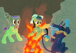 Size: 1200x840 | Tagged: safe, artist:quint-t-w, ahuizotl, daring do, oc, ahuizotl (species), earth pony, pegasus, pony, cavern, climbing, clothes, dexterous hooves, flying, hat, hoof hold, lava, leg grab, mask, peril, pith helmet, ponified, prehensile tail, reference, sharp teeth, tail wrap, teeth, video game reference, weapon