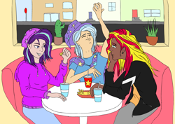 Size: 4961x3508 | Tagged: safe, artist:icey-wicey-1517, artist:shyinka, color edit, edit, starlight glimmer, sunset shimmer, trixie, human, equestria girls, beanie, cactus, cape, chatting, clothes, collaboration, colored, dark skin, diner, ear piercing, earring, eating, eyebrow piercing, fast food, food, french fries, friendship, gesture, group photo, group picture, group shot, hat, hoodie, humanized, jacket, jeans, jewelry, leather jacket, lip piercing, lunch, pants, piercing, plant, shirt, silly, silly face, sitting, snake bites, soda, t-shirt, trixie's cape, trixie's hat, wall of tags, wizard hat