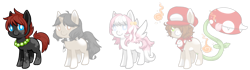 Size: 1964x553 | Tagged: safe, artist:ad-opt, artist:mousu, oc, oc only, earth pony, monster pony, original species, pegasus, piranha plant pony, plant pony, pony, unicorn, augmented tail, base used, clothes, coat markings, collaboration, crossover, earth pony oc, hat, horn, jewelry, necklace, pearl necklace, pegasus oc, plant, scarf, simple background, socks (coat markings), transparent background, unicorn oc, wings