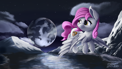 Size: 3840x2160 | Tagged: safe, artist:ilicksunshine, oc, pony, cloud, cloudy, lake, moon, mountain, mountain range, night, solo, stars, water