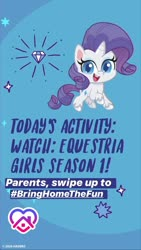 Size: 1080x1920 | Tagged: safe, rarity, pony, unicorn, equestria girls, equestria girls series, my little pony: pony life, bringhomethefun, coronavirus, instagram story, not the end of equestria girls, official, solo, text