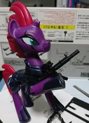 Size: 1476x2048 | Tagged: safe, artist:omegapony16, tempest shadow, pony, unicorn, armor, broken horn, eye scar, female, gun, hoof hold, hoof shoes, horn, irl, mare, mp5sd, photo, raised hoof, scar, solo, toy, weapon