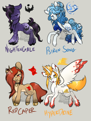 Size: 1500x2000 | Tagged: safe, artist:lavvythejackalope, oc, oc only, oc:hyper drive, oc:nightengale, oc:siren song, alicorn, earth pony, pegasus, pony, unicorn, :o, alicorn oc, armband, collar, curved horn, earth pony oc, ethereal mane, eyes closed, gray background, hoof polish, horn, jewelry, necklace, nose piercing, nose ring, open mouth, pegasus oc, piercing, simple background, smiling, starry mane, unicorn oc, unshorn fetlocks, wings