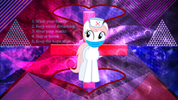 Size: 3840x2160 | Tagged: safe, artist:laszlvfx, artist:parclytaxel, edit, nurse redheart, pony, abstract background, coronavirus, covid-19, female, mask, solo, solo female, text, wallpaper, wallpaper edit