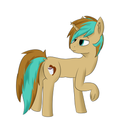 Size: 1620x1620 | Tagged: safe, artist:thekamko, derpibooru exclusive, oc, oc only, oc:demi, pony, unicorn, dock, ear fluff, frog (hoof), lidded eyes, looking back, male, one hoof raised, raised hoof, simple background, smiling, solo, stallion, transparent background, underhoof