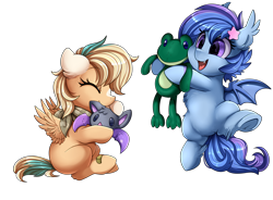 Size: 3430x2524 | Tagged: safe, artist:pridark, oc, oc only, oc:astral flare, oc:sun light, bat pony, pegasus, bat pony oc, bat wings, cute, female, filly, foal, laughing, ocbetes, pegasus oc, playing, simple background, tongue out, toy, transparent background, wings