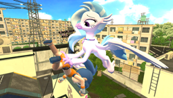 Size: 1280x720 | Tagged: safe, artist:dragonsam98, silverstream, hippogriff, human, 3d, butt grab, butt touch, carrying, chibi, female, flying, grope, holding a human, laughing, pokémon, pokémon trainer, random, source filmmaker, wtf