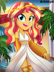 Size: 1536x2048 | Tagged: safe, artist:artmlpk, sunset shimmer, equestria girls, adorable face, alternate hairstyle, beautiful, clothes, costume, crown, cute, digital art, dress, egypt, egyptian, female, goddess, greek, greek mythology, jewelry, looking at you, outfit, palm tree, redraw, regalia, shimmerbetes, smiling, smiling at you, socks, solo, thigh highs, tree, waterfall