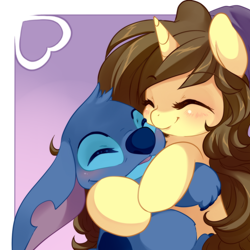 Size: 1000x1000 | Tagged: safe, artist:loyaldis, oc, oc:astral flare, pony, unicorn, adorable face, beanie, blushing, cute, hat, heart, huggies, lilo and stitch, stitch