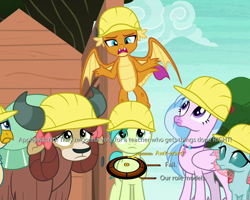 Size: 750x600 | Tagged: safe, edit, edited screencap, screencap, gallus, ocellus, sandbar, silverstream, smolder, yona, non-compete clause, bow, cropped, cute, dialogue wheel, diaocelles, diastreamies, gallabetes, hard hat, implied applejack, mass effect, sandabetes, shed (building), student six, sweet apple acres, tree, yonadorable