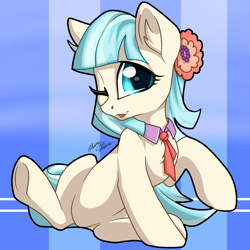 Size: 3120x3121 | Tagged: safe, artist:gleamydreams, coco pommel, earth pony, pony, cocobetes, cute, female, flower, flower in hair, mare, necktie, one eye closed, weapons-grade cute, winking at you