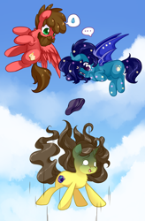 Size: 852x1300 | Tagged: safe, artist:loyaldis, oc, oc:astral flare, oc:eclipsa, oc:sketchbook, bat pony, pegasus, pony, unicorn, beanie, falling, flying, hat, oof, oops, sky
