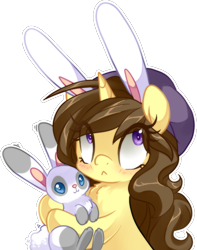 Size: 632x801 | Tagged: safe, artist:loyaldis, oc, oc only, oc:astral flare, pony, rabbit, unicorn, animal, beanie, blushing, bunny ears, cute, hat, simple background, solo, transparent background