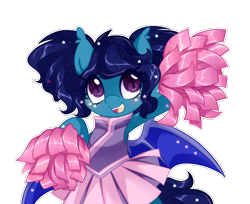Size: 1226x1000 | Tagged: safe, artist:loyaldis, oc, oc only, oc:eclipsa, bat pony, adorable face, bat pony oc, bat wings, cheering, cheerleader, cute, excited, happy, pom pom, simple background, solo, stars, transparent background, wings