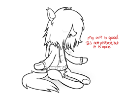Size: 1538x1211 | Tagged: safe, artist:modocrisma, oc, oc only, oc:sobakasu, earth pony, pony, bags under eyes, butt fluff, clothes, ear fluff, eye clipping through hair, eyes closed, fluffy, hidden eyes, hoodie, lineart, male, meditating, ponysona, simple background, sitting, solo, talking, teenager, underhoof, vent art, watermark, white background