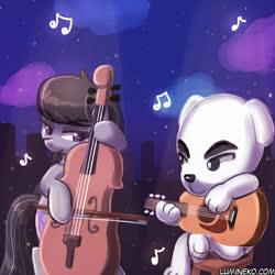 Size: 750x750   Tagged: safe, artist:lumineko, octavia melody, dog, earth pony, pony, animal crossing, cello, duet, guitar, k.k. slider, musical instrument, playing