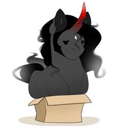 Size: 1000x1000 | Tagged: safe, artist:evehly, king sombra, pony, unicorn, behaving like a cat, box, cardboard box, chipped horn, cute, ear fluff, if i fits i sits, male, pony in a box, simple background, solo, sombradorable, stallion, white background