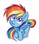 Size: 712x809 | Tagged: safe, artist:sorcerushorserus, rainbow dash, pegasus, pony, blank flank, blushing, cute, dashabetes, female, filly, filly rainbow dash, looking up, simple background, sitting, smiling, solo, white background, younger