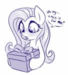 Size: 666x736 | Tagged: safe, artist:sorcerushorserus, fluttershy, pegasus, pony, blushing, female, grayscale, hoof hold, mare, monochrome, present, simple background, solo, white background