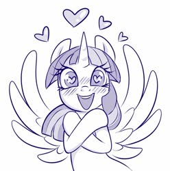 Size: 830x837 | Tagged: safe, artist:sorcerushorserus, twilight sparkle, alicorn, pony, blushing, crossed hooves, female, floating heart, grayscale, happy, heart, heart eyes, looking at you, mare, monochrome, simple background, solo, spread wings, twilight sparkle (alicorn), white background, wingding eyes, wings