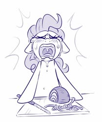 Size: 603x722 | Tagged: safe, artist:sorcerushorserus, pinkie pie, earth pony, pony, crying, cutting onions, female, floppy ears, food, grayscale, hoof hold, kitchen knife, knife, mare, monochrome, onion, open mouth, simple background, solo, uvula, white background