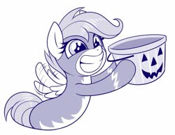 Size: 809x628 | Tagged: safe, artist:sorcerushorserus, scootaloo, pegasus, pony, art, clothes, cute, cutealoo, female, filly, flapping wings, grin, halloween, holiday, hoof hold, monochrome, pumpkin bucket, simple background, smiling, solo, uniform, white background, wings, wonderbolts uniform