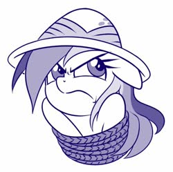 Size: 554x551 | Tagged: safe, artist:sorcerushorserus, daring do, pegasus, pony, angry, female, floppy ears, frown, mare, monochrome, simple background, solo, tied up, white background