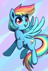 Size: 570x844 | Tagged: safe, artist:sorcerushorserus, rainbow dash, pegasus, pony, abstract background, cute, dashabetes, female, flying, mare, sky, solo