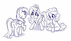 Size: 1091x636   Tagged: safe, artist:sorcerushorserus, angel bunny, fluttershy, pinkie pie, rainbow dash, earth pony, pegasus, pony, female, grayscale, lineart, mare, monochrome, personality swap, puffy cheeks, simple background, white background