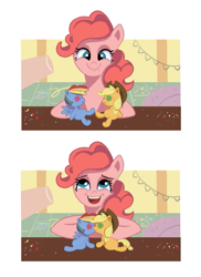 Size: 601x825 | Tagged: safe, artist:camaleao, applejack, pinkie pie, rainbow dash, earth pony, pony, appledash, cute, doll, female, kissing, lesbian, plushie, shipper on deck, shipping, toy