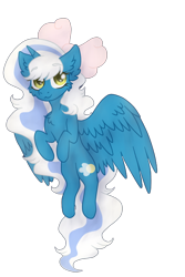 Size: 408x612 | Tagged: safe, artist:brendalobinha, oc, oc only, oc:fleurbelle, alicorn, pony, adorabelle, cheek fluff, chest fluff, cute, ear fluff, flying, looking at you, ocbetes, ribbon, simple background, solo, transparent background, wings