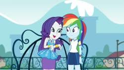 Size: 1280x720 | Tagged: safe, screencap, rainbow dash, rarity, equestria girls, equestria girls series, sock it to me, spoiler:eqg series, spoiler:eqg series (season 2), clothes, female, shorts, wristband