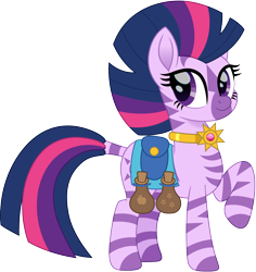 Size: 1414x1500 | Tagged: safe, alternate version, artist:cloudyglow, twilight sparkle, zebra, amulet, cute, dock, female, jewelry, mare, potion, raised hoof, simple background, solo, species swap, transparent background, twiabetes, zebrafied