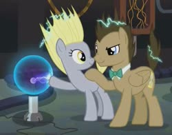 Size: 919x720 | Tagged: safe, edit, edited screencap, screencap, derpy hooves, doctor whooves, time turner, earth pony, pegasus, pony, slice of life (episode), cropped, female, has science gone too far?, male, plasma ball, race swap, shipping fuel