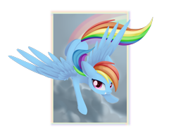 Size: 1968x1512 | Tagged: safe, artist:dusthiel, rainbow dash, pegasus, pony, digital art, female, floppy ears, flying, grin, looking at you, mare, sky, smiling, solo, transparent background