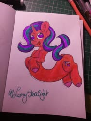 Size: 1560x2080 | Tagged: safe, artist:cuddlygrizzly, starlight glimmer, pony, unicorn, long pony, solo, traditional art