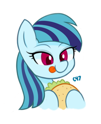 Size: 582x713 | Tagged: safe, artist:handgunboi, sonata dusk, pony, food, simple background, sonataco, taco, tongue out, white background