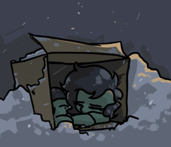 Size: 474x408 | Tagged: safe, artist:plunger, oc, oc only, oc:filly anon, earth pony, pony, cardboard box, cold, feels, female, filly, gray background, homeless, simple background, sleeping, snow