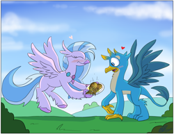 Size: 3300x2550 | Tagged: safe, artist:loreto-arts, gallus, silverstream, classical hippogriff, fish, griffon, hippogriff, blushing, commission, cute, female, food, gallstream, griffons doing griffon things, heart, jewelry, male, necklace, plate, shipping, spread wings, straight, wings