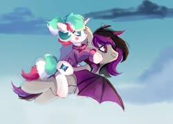 Size: 1400x1000 | Tagged: safe, artist:raily, oc, bat pony, pegasus, pony, unicorn, female, love, male, oc x oc, shipping, sky, straight